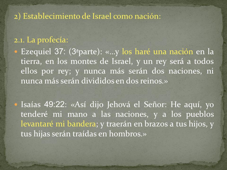 2) Establecimiento de Israel como nación: