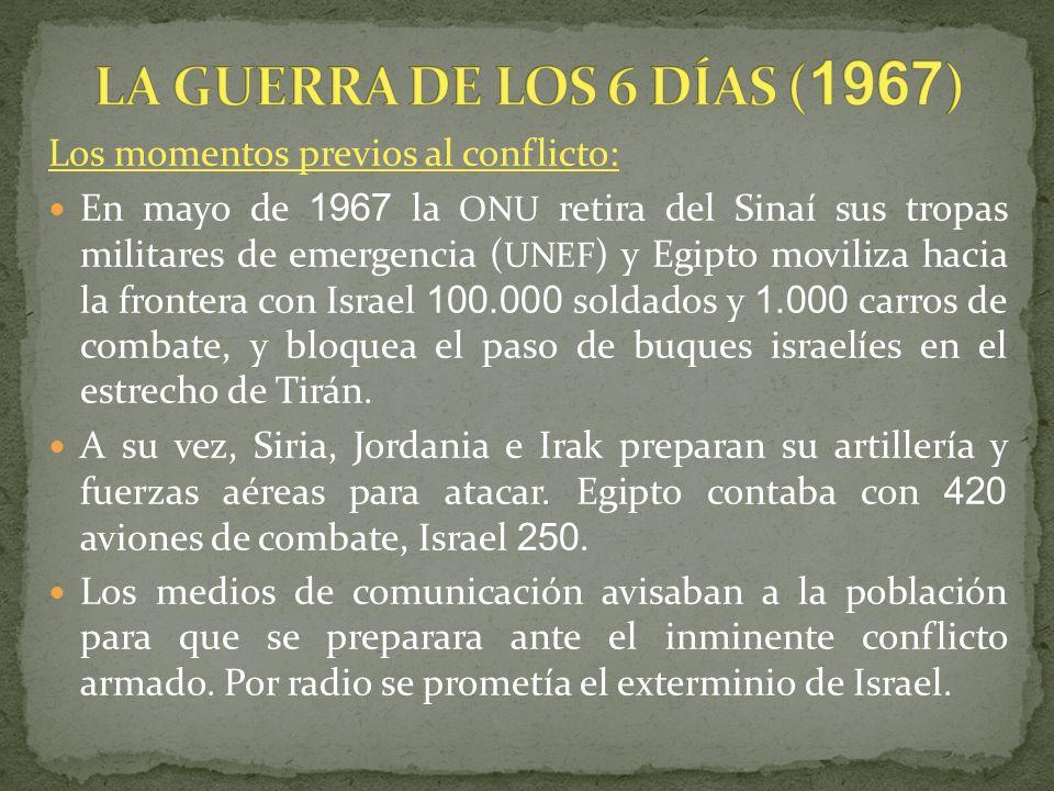 LA GUERRA DE LOS 6 DÍAS (1967) Los momentos previos al conflicto: