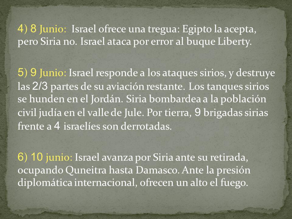 4) 8 Junio: Israel ofrece una tregua: Egipto la acepta, pero Siria no