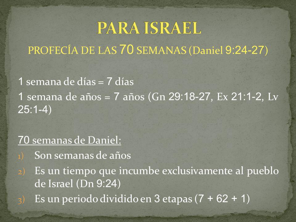 PROFECÍA DE LAS 70 SEMANAS (Daniel 9:24-27)