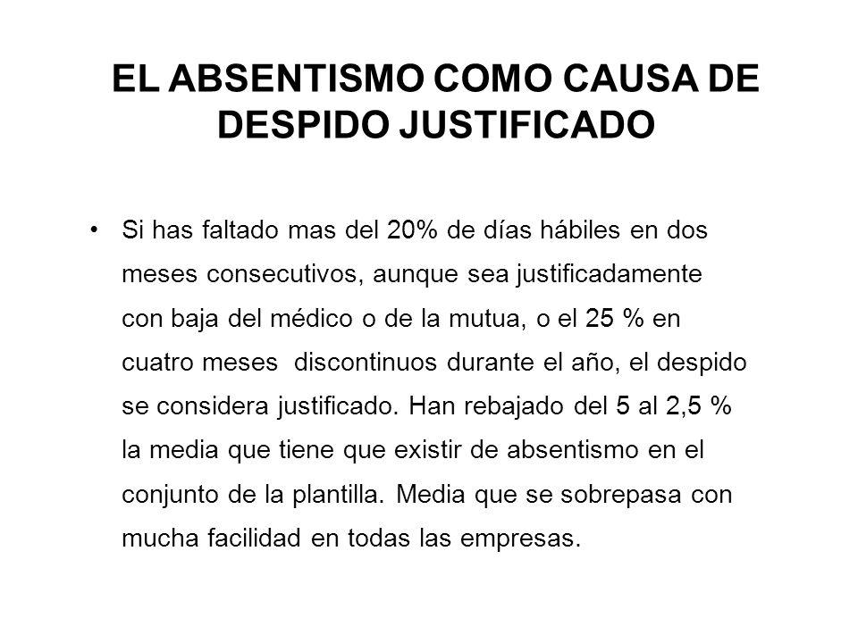 EL ABSENTISMO COMO CAUSA DE DESPIDO JUSTIFICADO