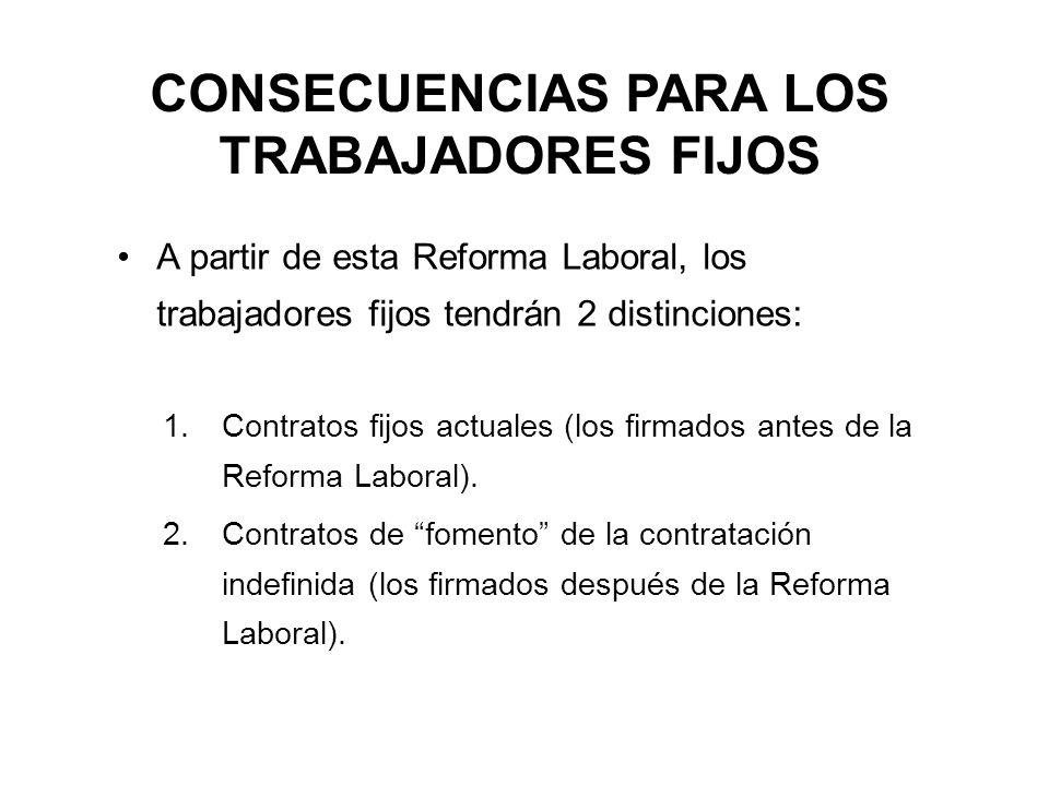 CONSECUENCIAS PARA LOS TRABAJADORES FIJOS