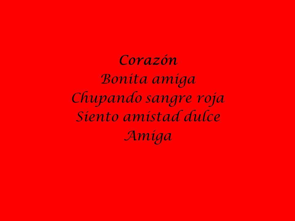 Corazón Bonita amiga Chupando sangre roja Siento amistad dulce Amiga