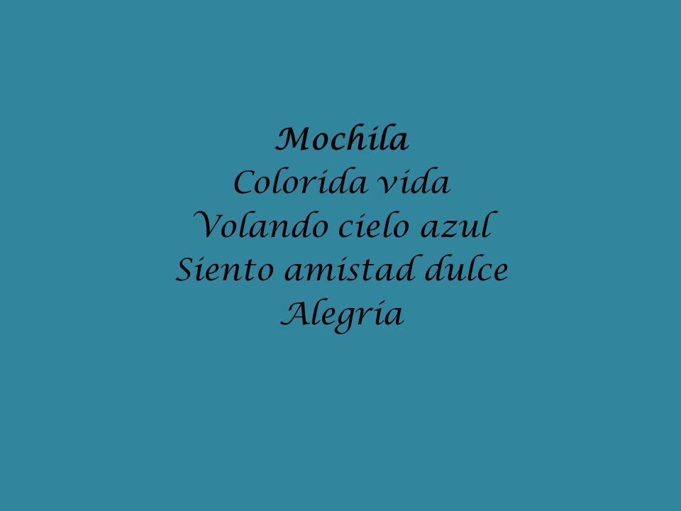 Mochila Colorida vida Volando cielo azul Siento amistad dulce Alegría