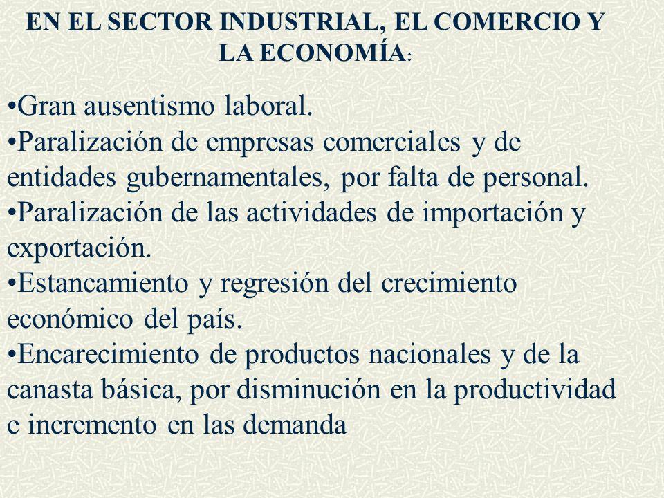 EN EL SECTOR INDUSTRIAL, EL COMERCIO Y LA ECONOMÍA: