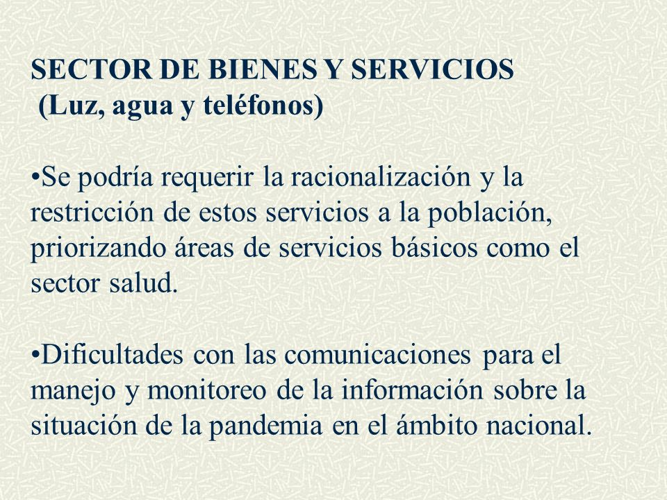 SECTOR DE BIENES Y SERVICIOS