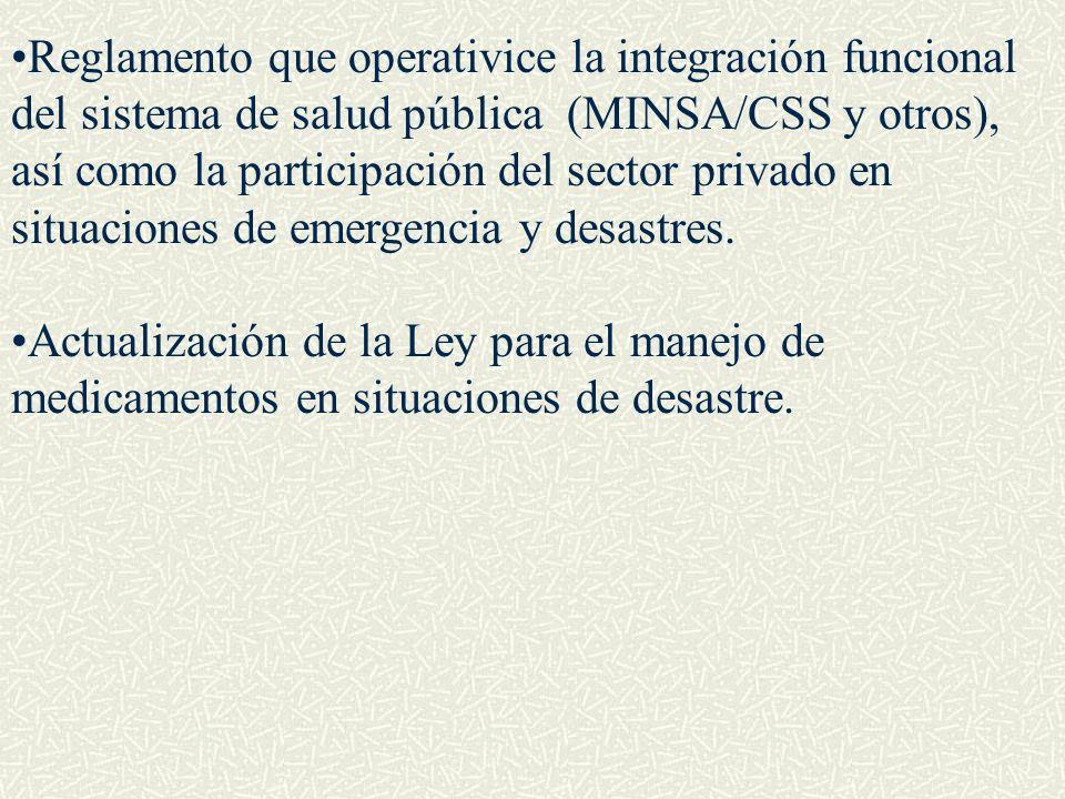 Reglamento que operativice la integración funcional del sistema de salud pública (MINSA/CSS y otros), así como la participación del sector privado en situaciones de emergencia y desastres.