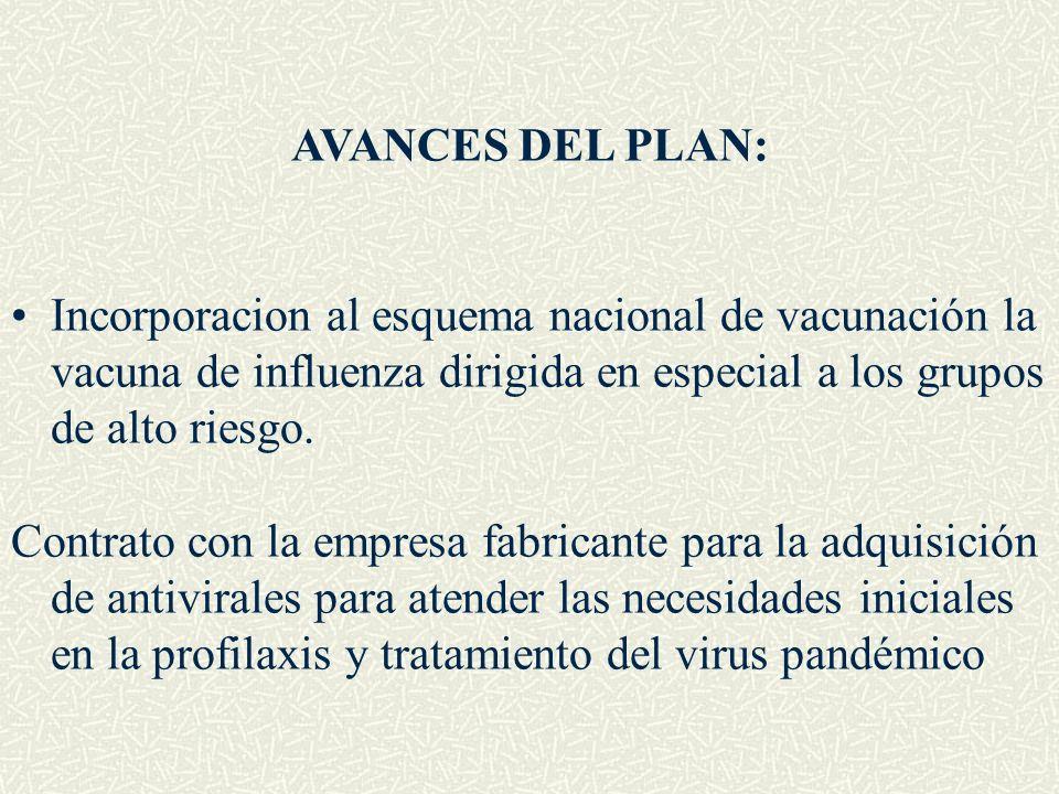 AVANCES DEL PLAN:Incorporacion al esquema nacional de vacunación la vacuna de influenza dirigida en especial a los grupos de alto riesgo.