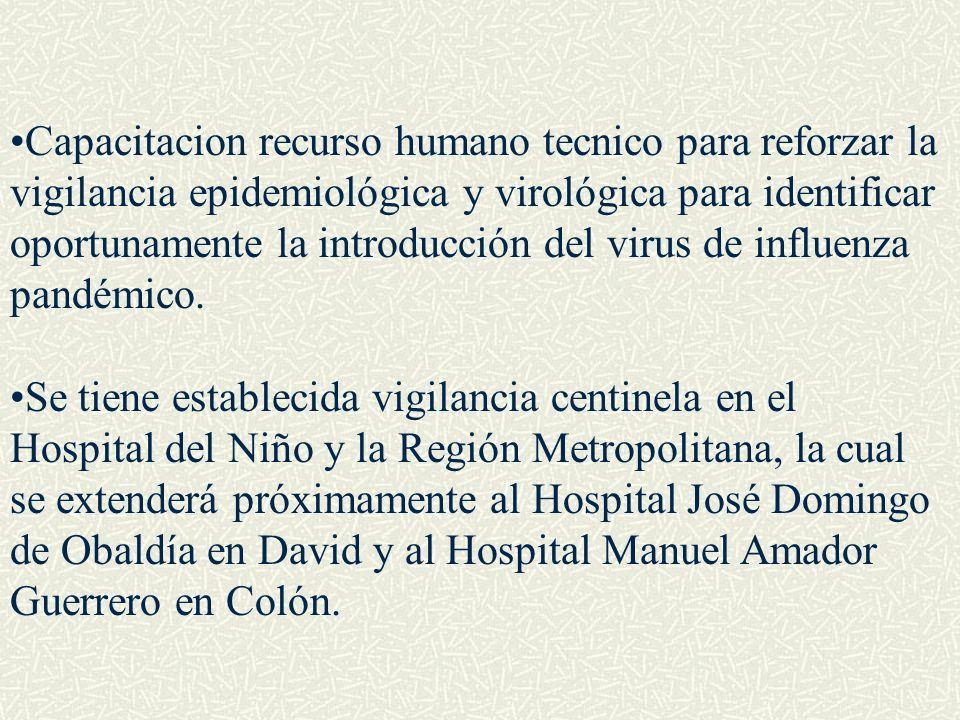 Capacitacion recurso humano tecnico para reforzar la vigilancia epidemiológica y virológica para identificar oportunamente la introducción del virus de influenza pandémico.