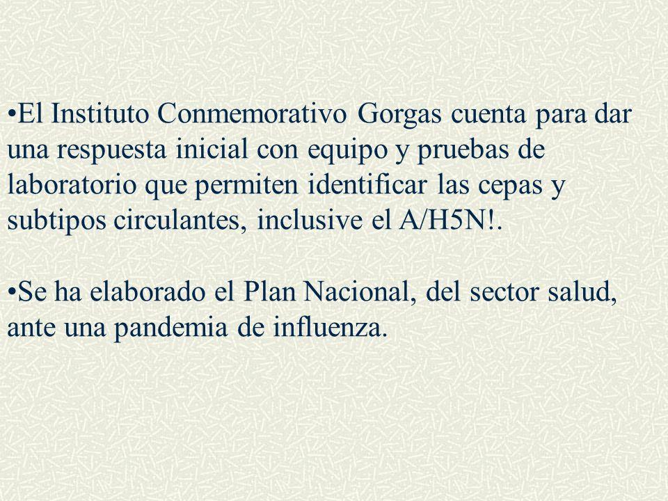 El Instituto Conmemorativo Gorgas cuenta para dar una respuesta inicial con equipo y pruebas de laboratorio que permiten identificar las cepas y subtipos circulantes, inclusive el A/H5N!.