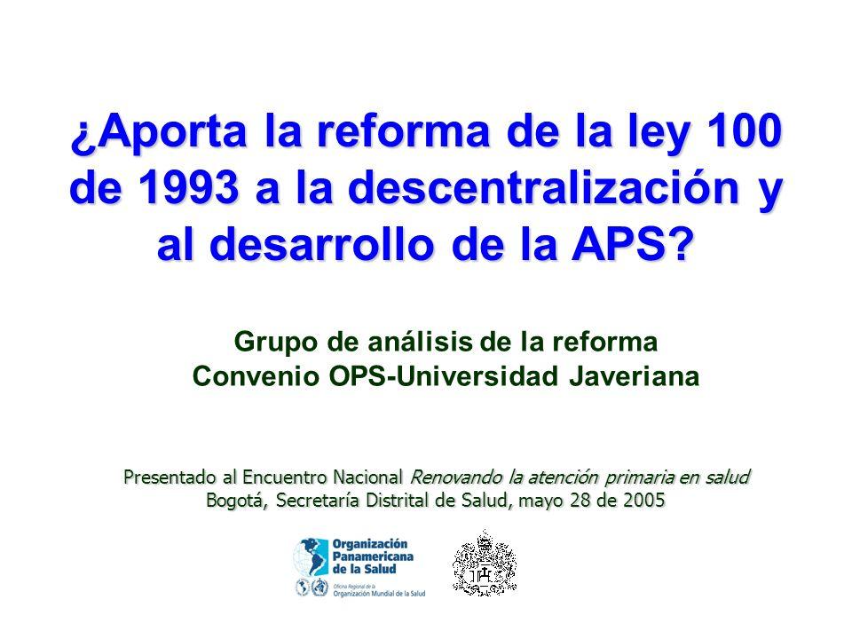 Grupo de análisis de la reforma Convenio OPS-Universidad Javeriana