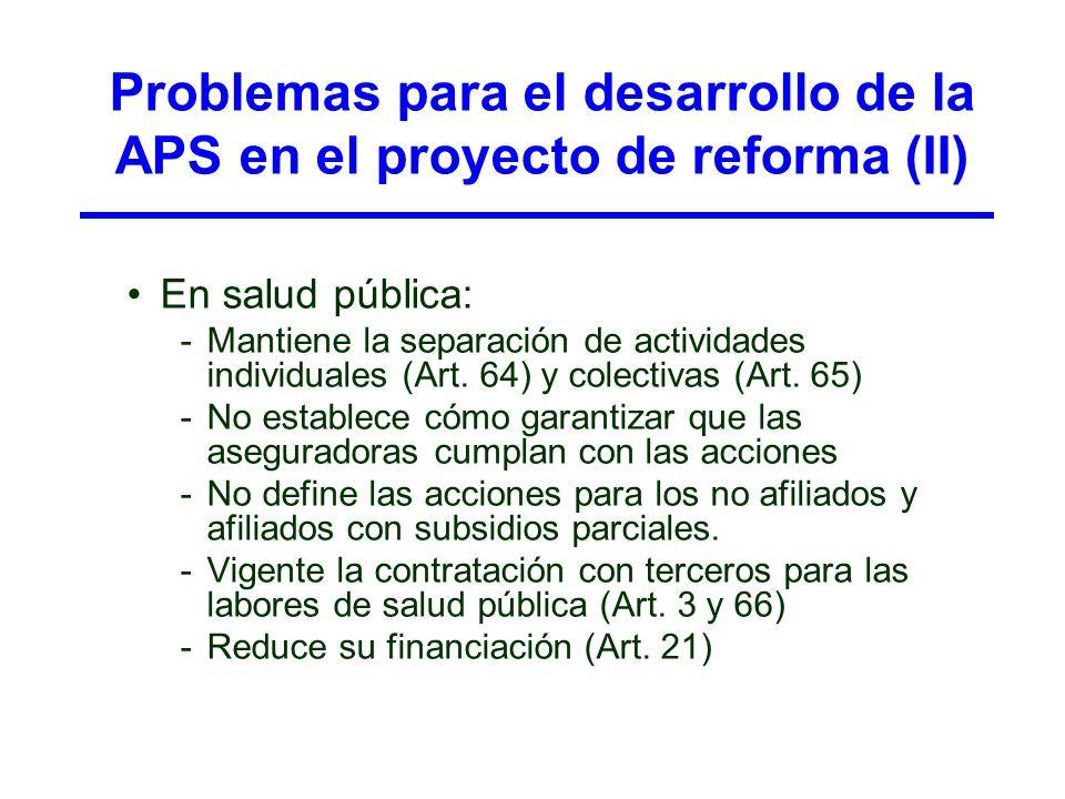Problemas para el desarrollo de la APS en el proyecto de reforma (II)