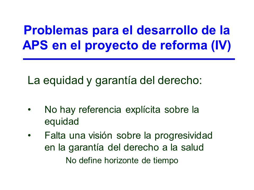 Problemas para el desarrollo de la APS en el proyecto de reforma (IV)