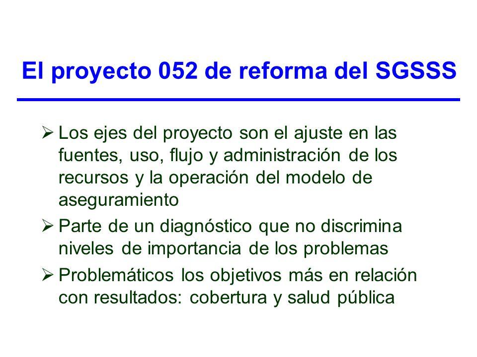 El proyecto 052 de reforma del SGSSS