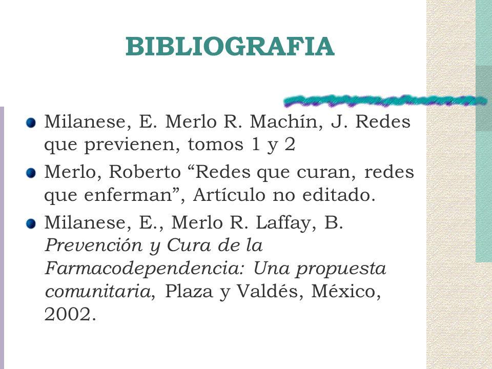BIBLIOGRAFIA Milanese, E. Merlo R. Machín, J. Redes que previenen, tomos 1 y 2.
