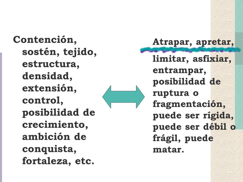 Contención, sostén, tejido, estructura, densidad, extensión, control, posibilidad de crecimiento, ambición de conquista, fortaleza, etc.