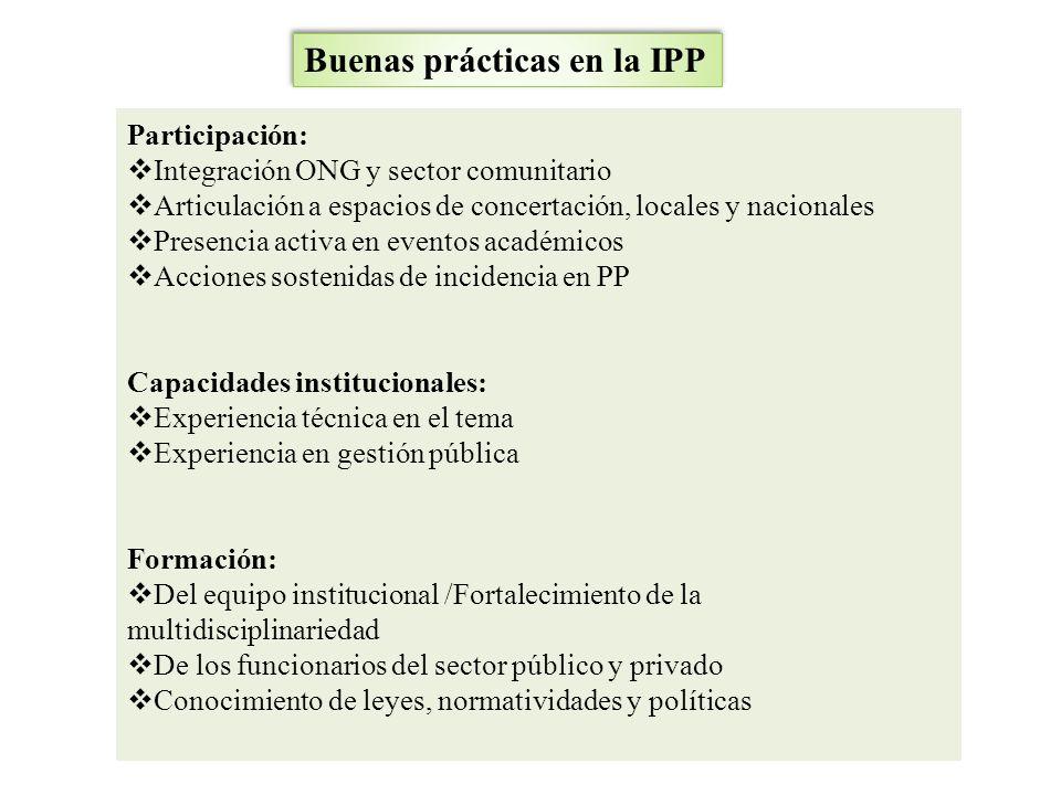Buenas prácticas en la IPP