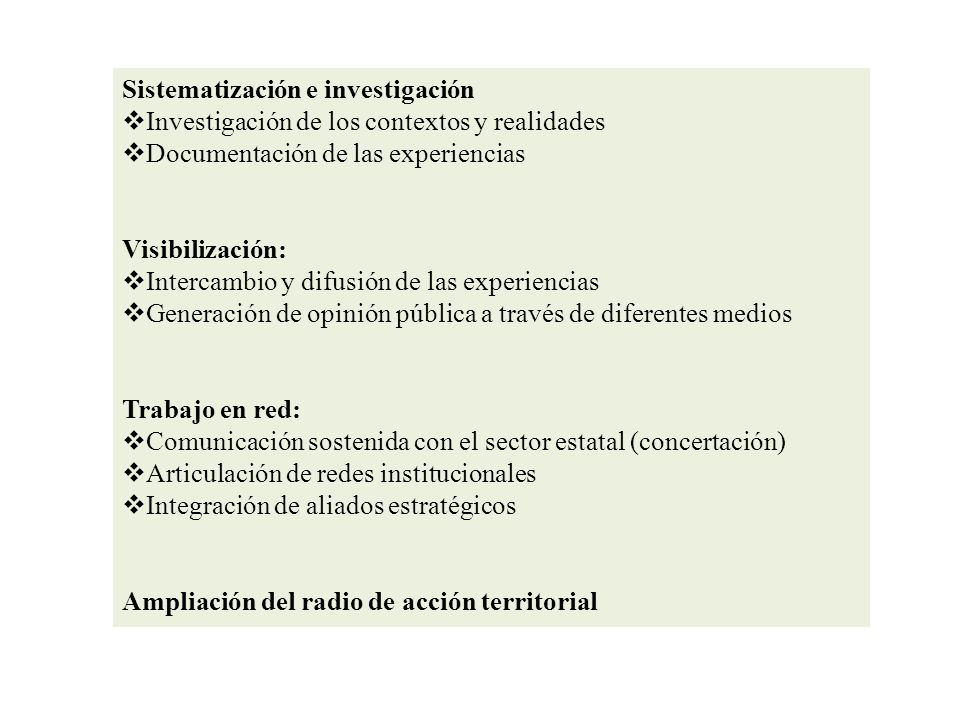 Sistematización e investigación