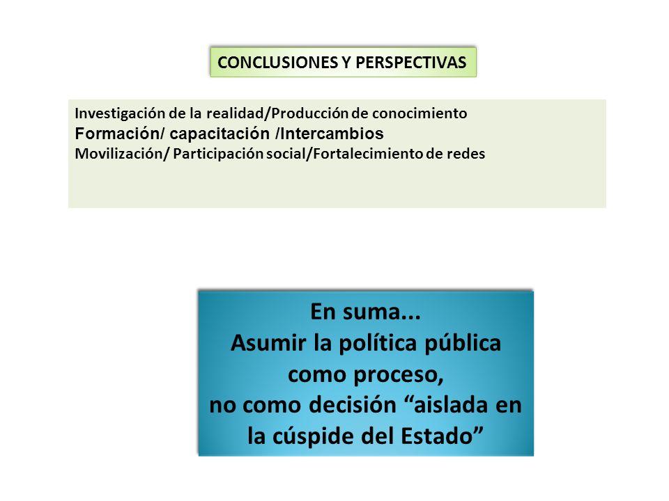 Asumir la política pública como proceso,