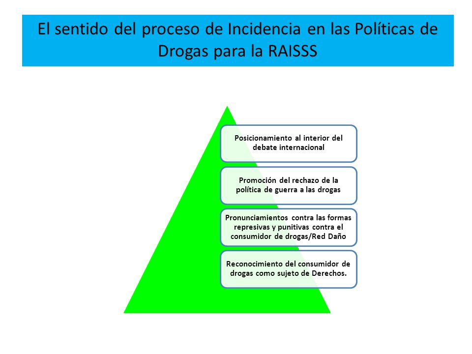 El sentido del proceso de Incidencia en las Políticas de Drogas para la RAISSS