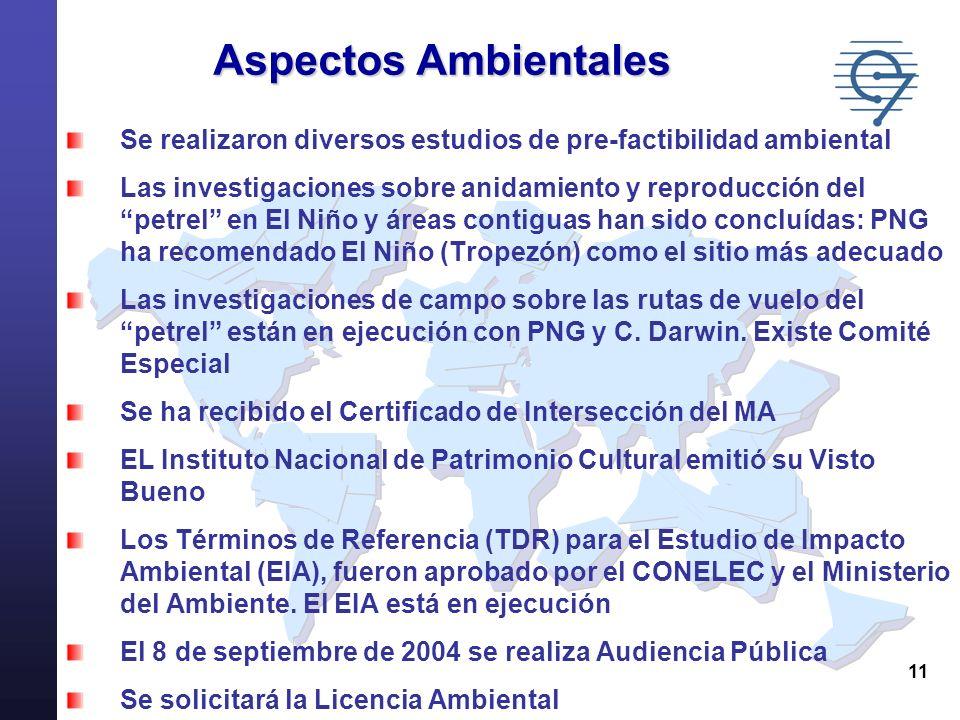 Aspectos AmbientalesSe realizaron diversos estudios de pre-factibilidad ambiental.