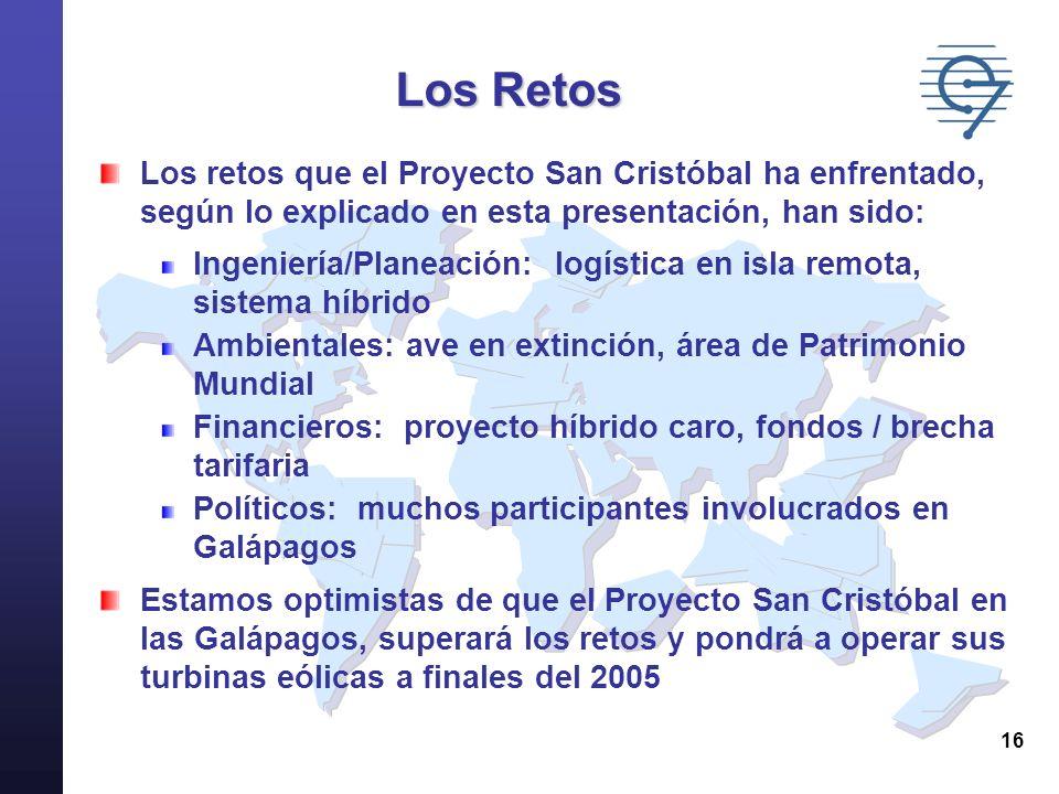 Los RetosLos retos que el Proyecto San Cristóbal ha enfrentado, según lo explicado en esta presentación, han sido: