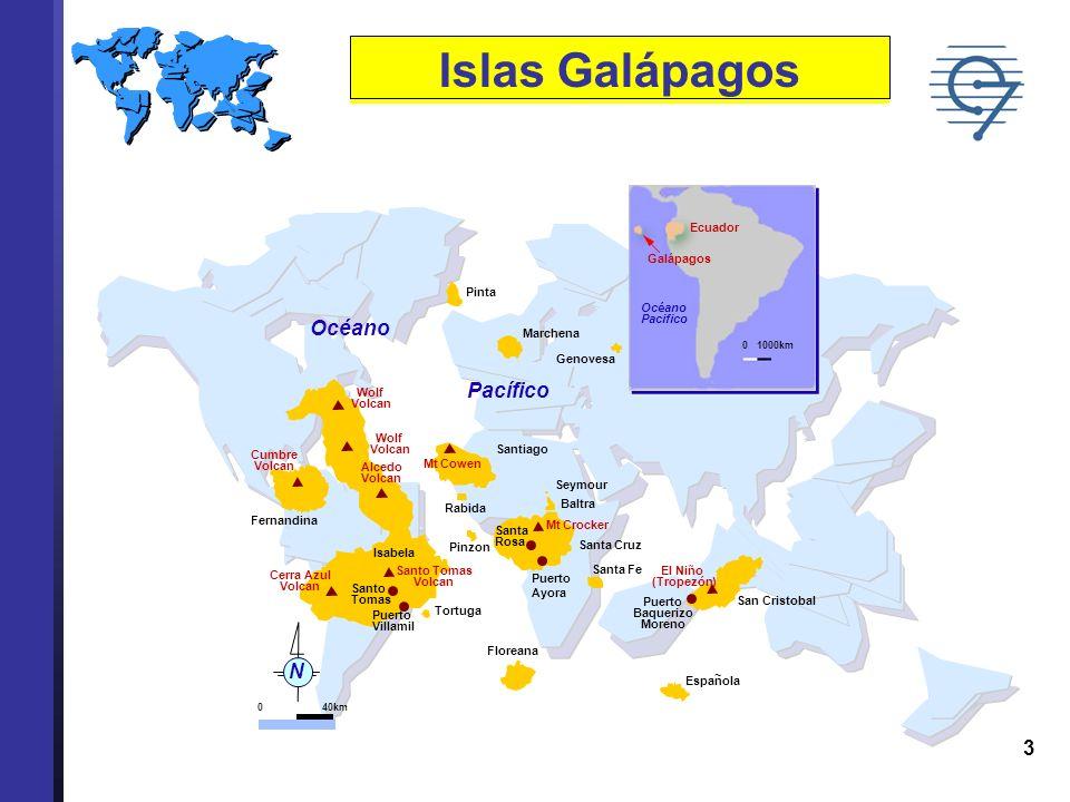 Islas Galápagos Océano Pacífico N Galápagos Ecuador Océano Pacifico
