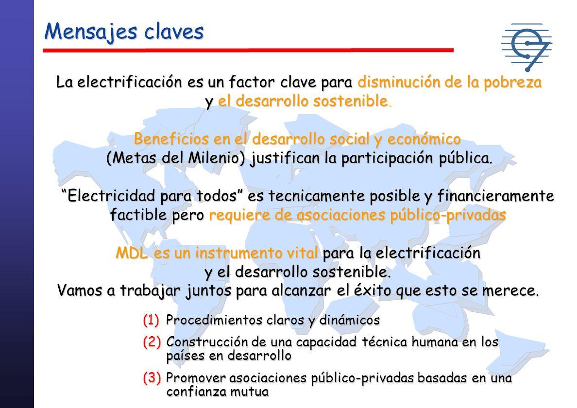 Mensajes clavesLa electrificación es un factor clave para disminución de la pobreza. y el desarrollo sostenible.