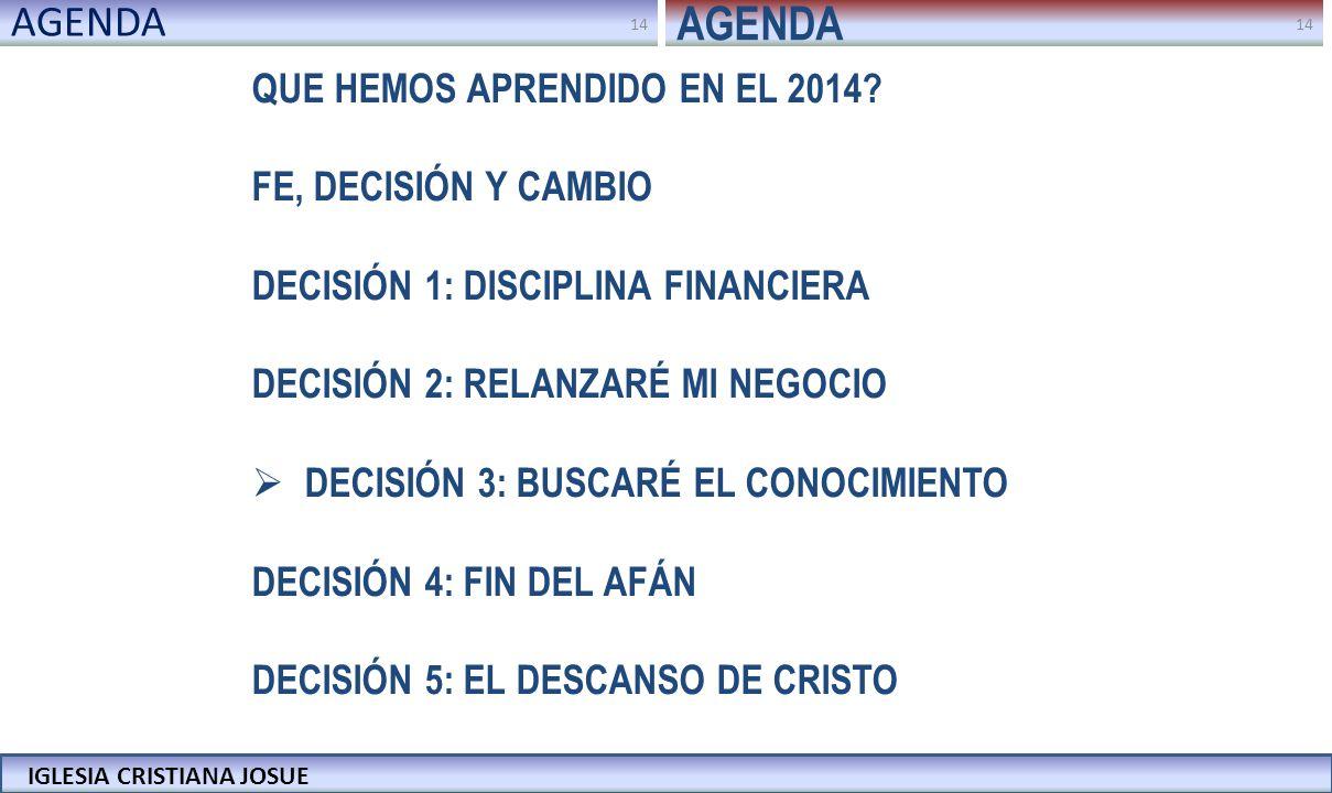 AGENDA AGENDA QUE HEMOS APRENDIDO EN EL 2014 FE, DECISIÓN Y CAMBIO