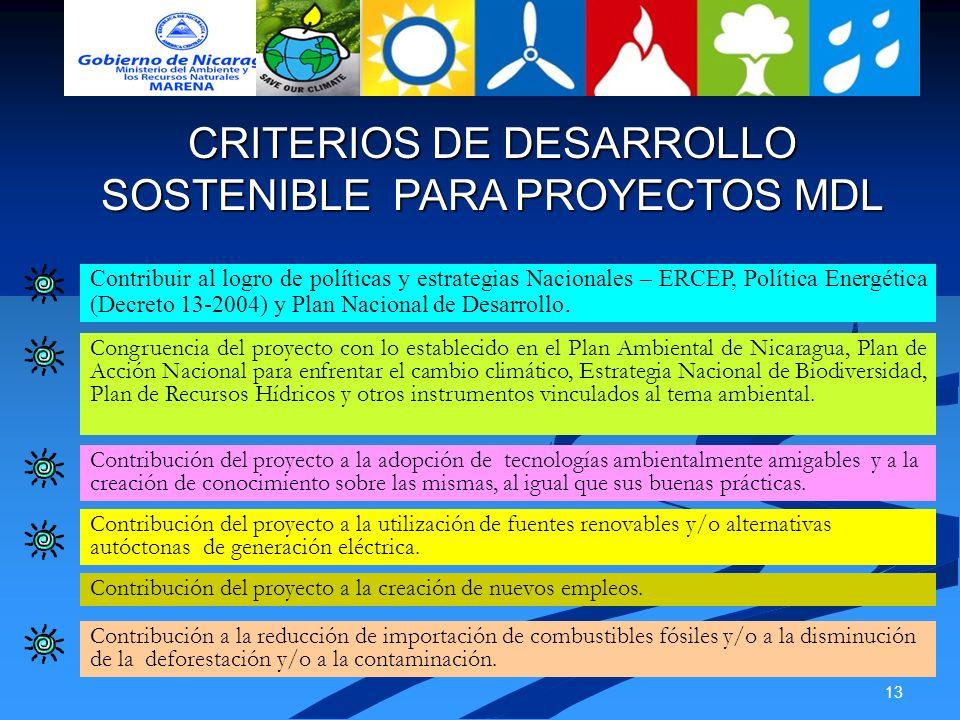 CRITERIOS DE DESARROLLO SOSTENIBLE PARA PROYECTOS MDL