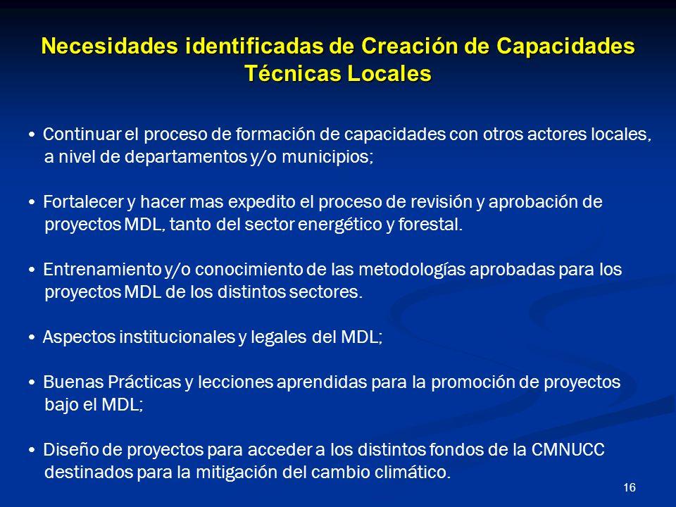 Necesidades identificadas de Creación de Capacidades Técnicas Locales