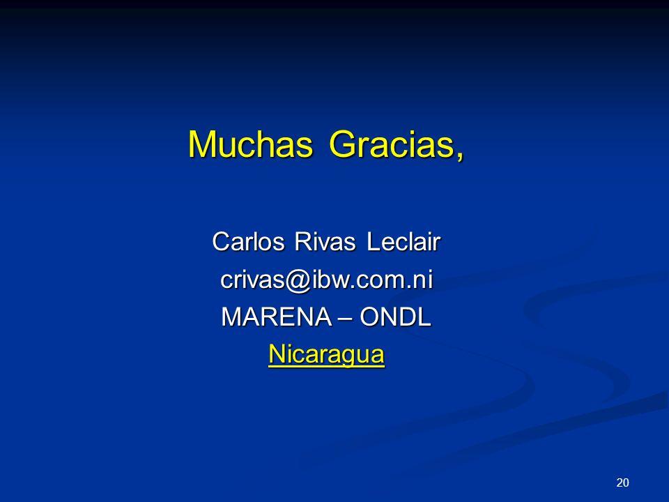 Muchas Gracias, Carlos Rivas Leclair crivas@ibw.com.ni MARENA – ONDL