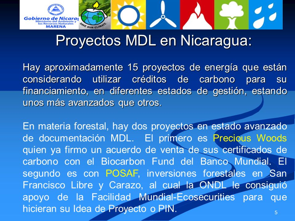 Proyectos MDL en Nicaragua: