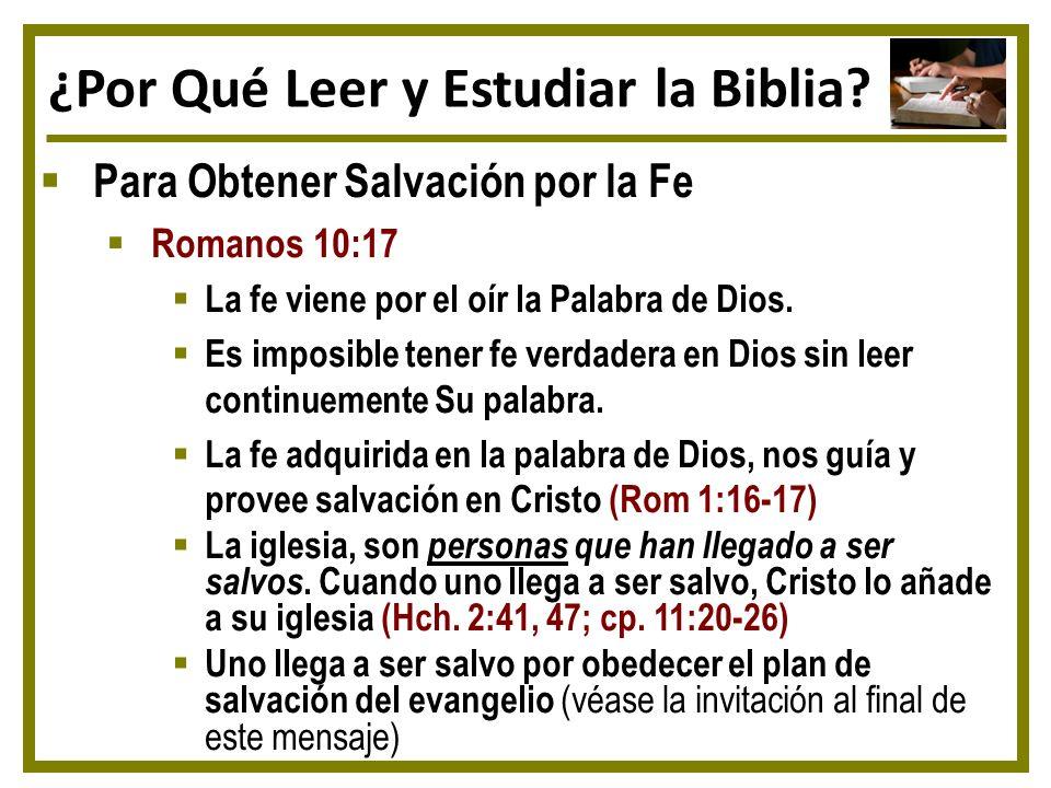 ¿Por Qué Leer y Estudiar la Biblia