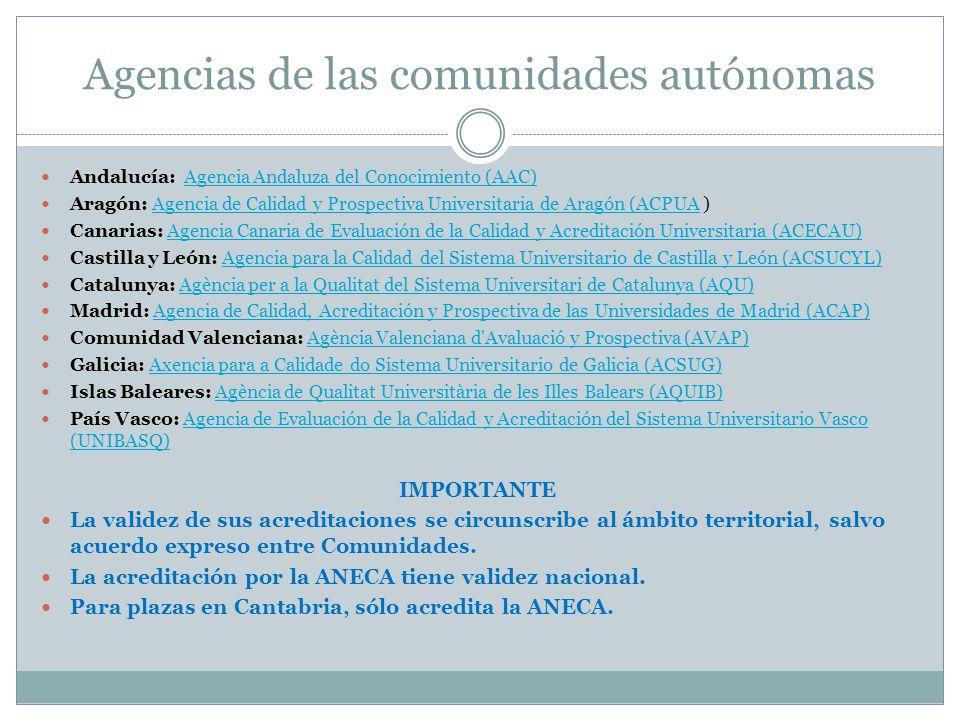 Agencias de las comunidades autónomas