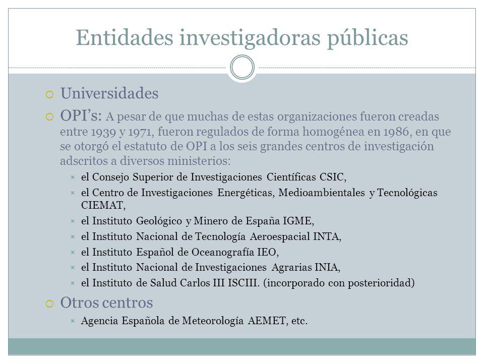 Entidades investigadoras públicas