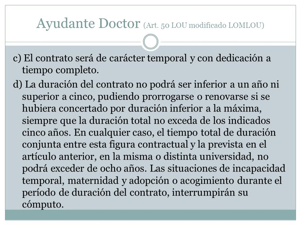 Ayudante Doctor (Art. 50 LOU modificado LOMLOU)