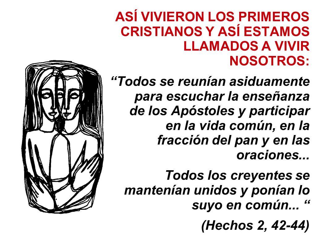 ASÍ VIVIERON LOS PRIMEROS CRISTIANOS Y ASÍ ESTAMOS LLAMADOS A VIVIR NOSOTROS: