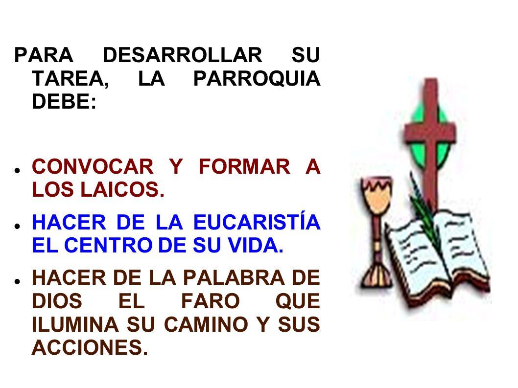 PARA DESARROLLAR SU TAREA, LA PARROQUIA DEBE:
