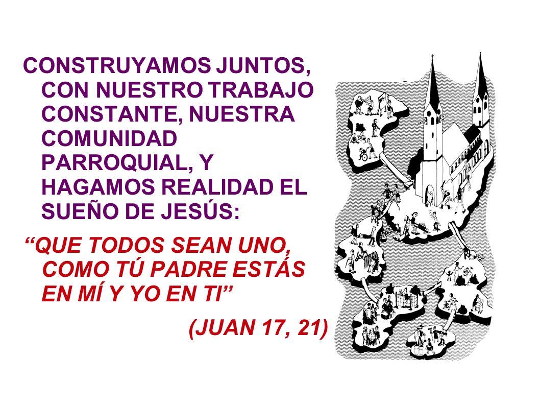 CONSTRUYAMOS JUNTOS, CON NUESTRO TRABAJO CONSTANTE, NUESTRA COMUNIDAD PARROQUIAL, Y HAGAMOS REALIDAD EL SUEÑO DE JESÚS:
