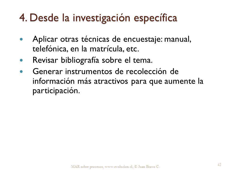 4. Desde la investigación específica