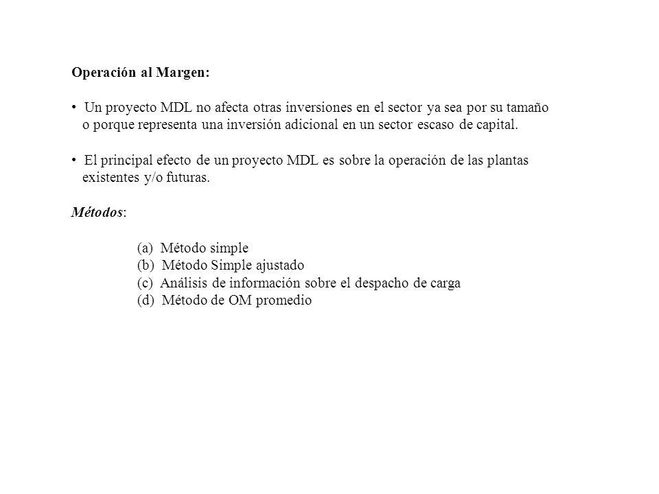 Operación al Margen: Un proyecto MDL no afecta otras inversiones en el sector ya sea por su tamaño.