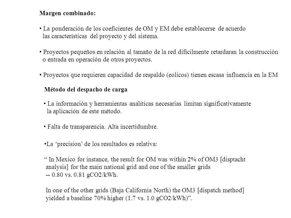 Margen combinado: La ponderación de los coeficientes de OM y EM debe establecerse de acuerdo. las características del proyecto y del sistema.