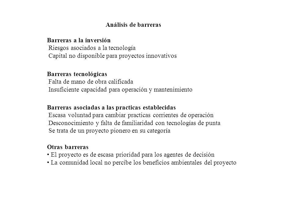Análisis de barreras Barreras a la inversión. Riesgos asociados a la tecnología. Capital no disponible para proyectos innovativos.