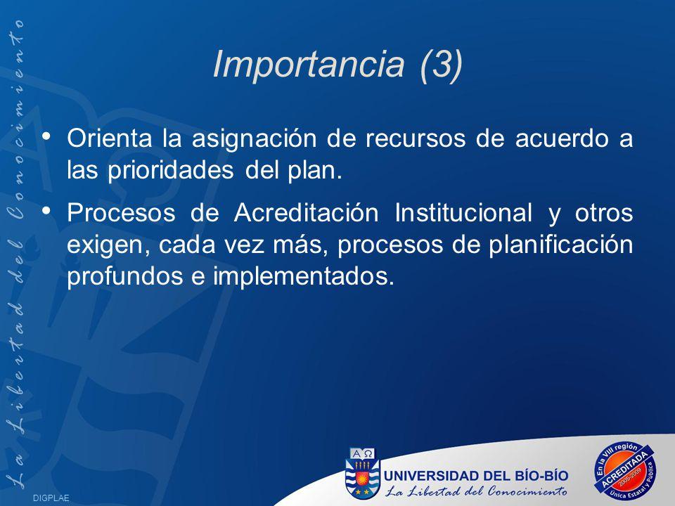 Importancia (3) Orienta la asignación de recursos de acuerdo a las prioridades del plan.