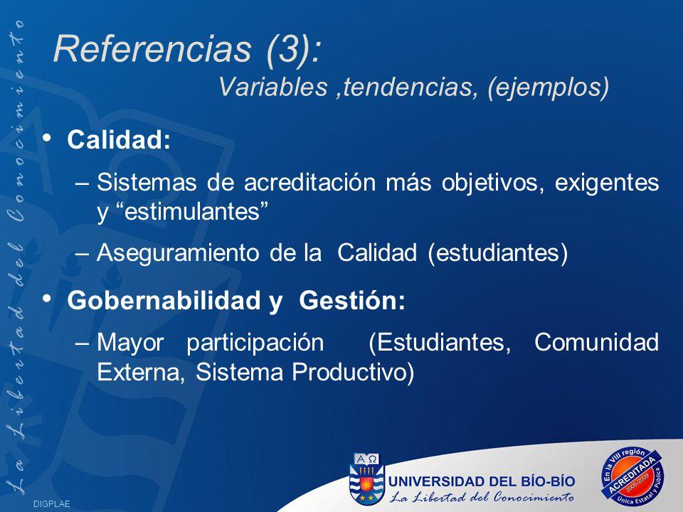 Referencias (3): Variables ,tendencias, (ejemplos)