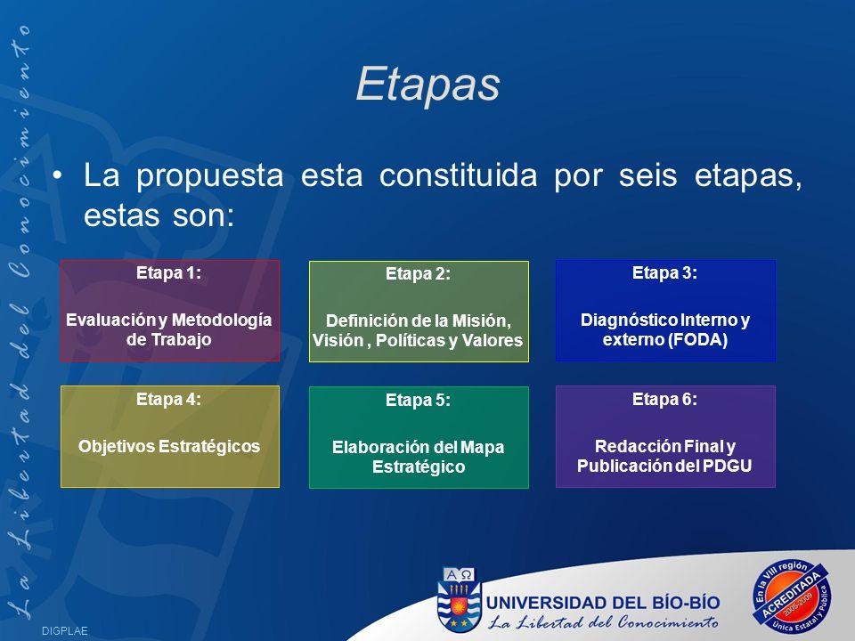Etapas La propuesta esta constituida por seis etapas, estas son: