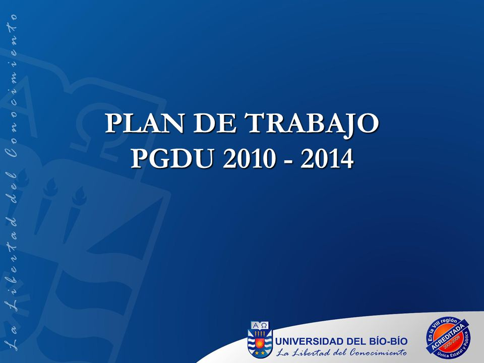 PLAN DE TRABAJO PGDU 2010 - 2014