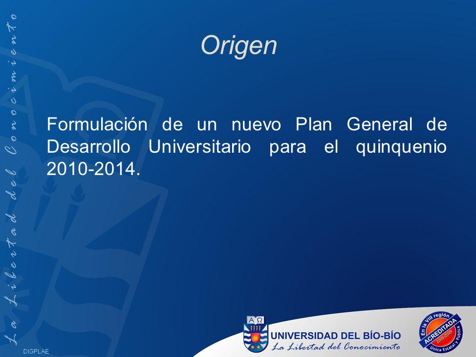 Origen Formulación de un nuevo Plan General de Desarrollo Universitario para el quinquenio 2010-2014.
