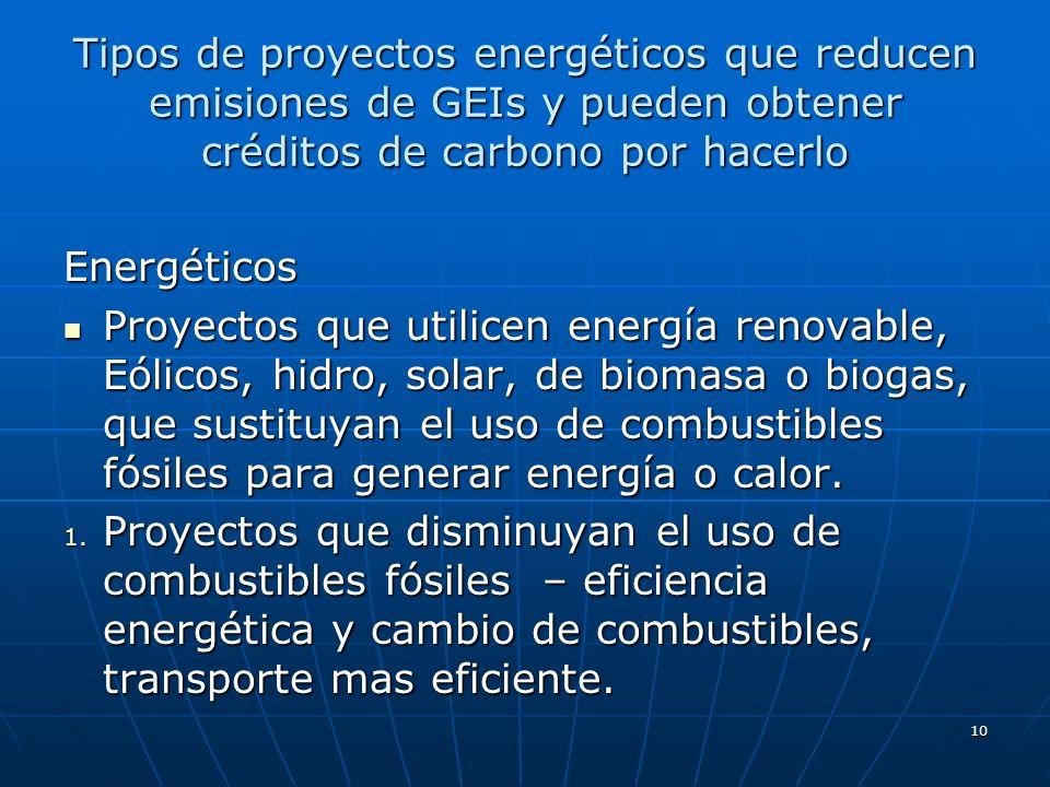 Tipos de proyectos energéticos que reducen emisiones de GEIs y pueden obtener créditos de carbono por hacerlo